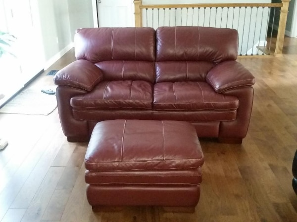 Lazy Boy leather sofa and Ottoman