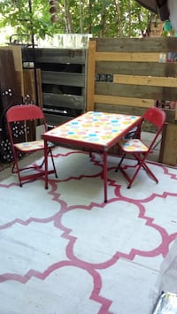 Vintage mid century modern kids metal fold-up table and chairs set by COOEY Mississauga, L5J