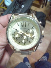 round silver chronograph watch with link bracelet Louisville, 40214