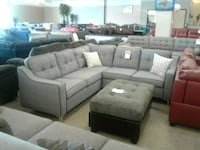 Grey Fabric Sectional Sofa W/ Accent Pillows Phoenix, 85018