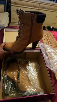 brown leather high heeled work boots