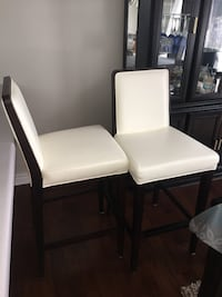 Cream and dark wood bar height stools excellent condition  Barrie, L4N 3A7