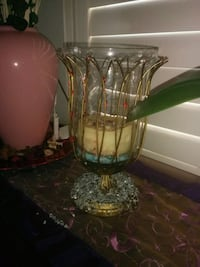 clear glass vase with green and red flower Hamilton