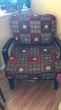 Brown and red chair w/ beige micro suede sofa