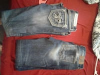 two blue and black denim jeans Anderson, 96007