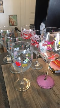 Lot of 6 wine glasses - two Halloween two Valentine's Day a wedding one and a shopping one Lavallette, 08735