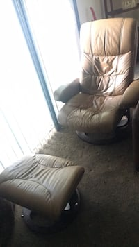Worn Italian Leather Recliner with matching foot stool  Newark, 43055