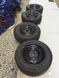 See of 4 tires and still rimes good condition winter tires and size 215/60/R16 Brampton, L6R 3M6