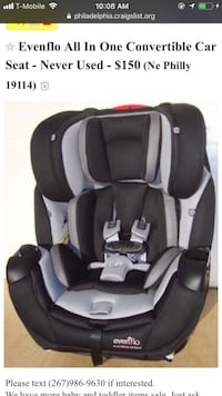 black and grey Evenflo all in one convertible car seat screenshot