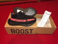 Pair of black adidas yeezy boost 350 v2 with box 46 km