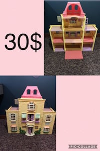 White and pink dollhouse.