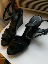 pair of black leather open-toe ankle strap heels McCalla, 35111