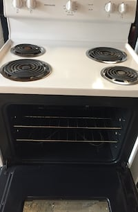 black and white electric coil range oven