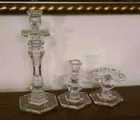 Three signed Waterford crystal candle holders 402 mi
