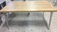 Modern Wood and Chrome Dining Table / Desk- adjustable sizes 373 mi