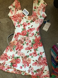 white, red, and green floral sleeveless dress North Highlands, 95660