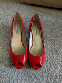 pair of red leather peep toe heels Virginia Beach, 23464
