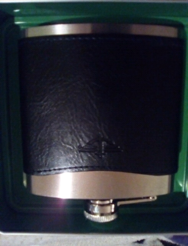 Stainless steel and black leather flask