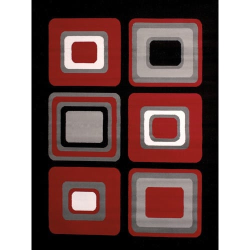 """United Weavers of America Dallas Spaces Red Area Rug, Size:5'3"""" x 7'2"""""""