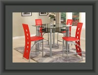 Red counter height table with 4 chairs Temple Hills