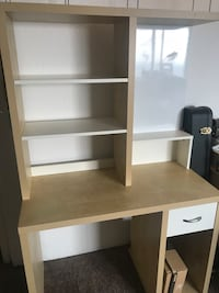 white and brown wooden computer desk with hutch Edmonton, T6R 2T7