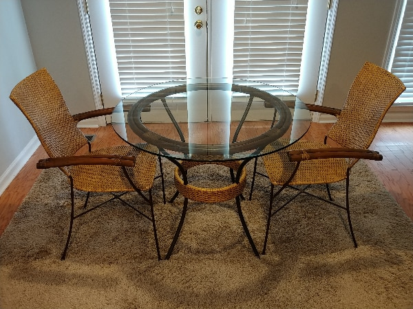"2 Person Dining Table with 36"" Round Glass Top"