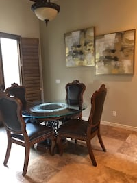 round brown wooden table with four chairs dining set 1943 mi