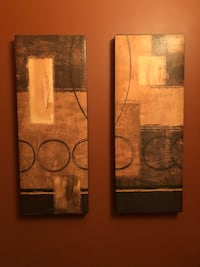 black and brown abstract painting Oakville, L6M 4Y9