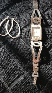 square silver analog watch with white leather strap East Donegal, 17547