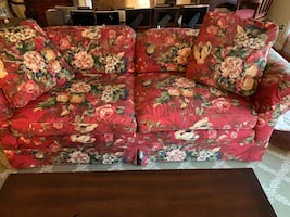 Red Chintz Loveseat