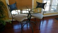 black metal base glass top table with chairs Bristow, 20136