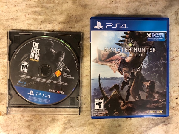 PS4 Games: Monster Hunter World / The Last of Us Remastered