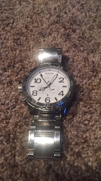 round silver-colored chronograph watch with link bracelet Edmonton, T6X 0T1