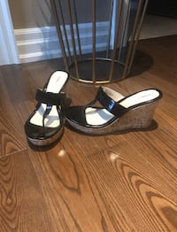 Pleather Wedge Sandals, Size 8
