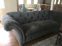 Tufted grey suede sectional sofa Chicago, 60625