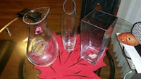 three clear glass vases