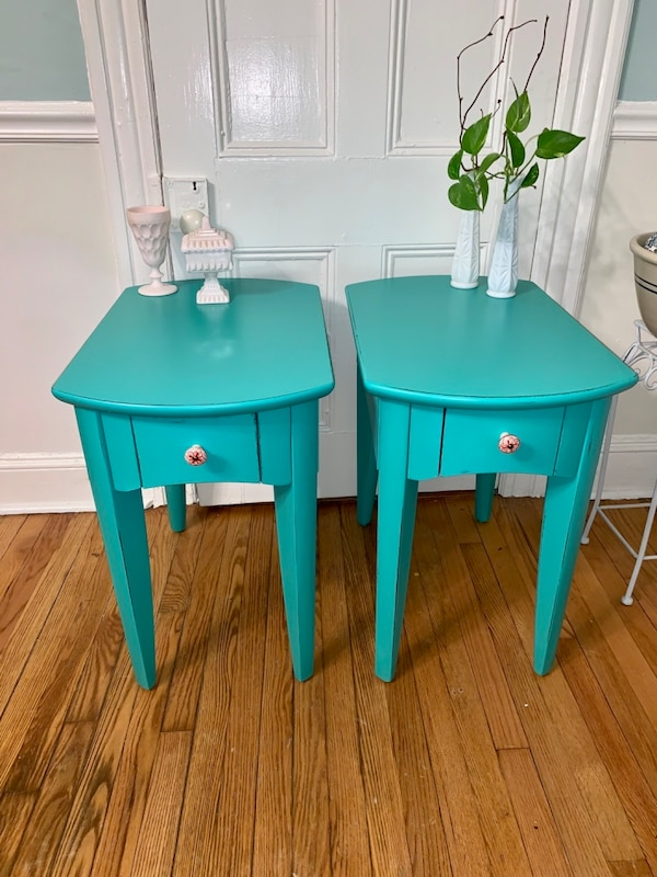 Pair of teal green solid wood end tables nightstands