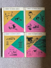 """Set of vintage """"I Want to Know About..."""" alphabetically illustrated books for children, books 1-22, missing the mysterious volume 14 Burlingame"""