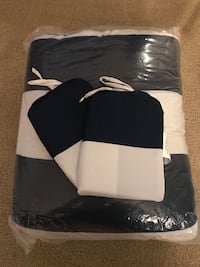 NEW King Size Navy and White Comforter with Pillowcase and Ruffled Shower Curtains Placentia, 92870