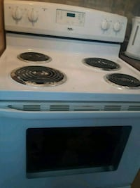white and black 4-electric coil range oven
