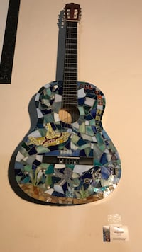 Multicolored Mosaic Beatles Themed acoustic guitar