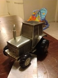 Pewter tractor Bank with rubber tires