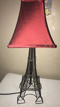 black metal base red shade table lamp