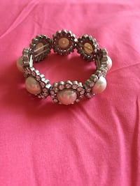 Silver and white diamond studded beads bracelet