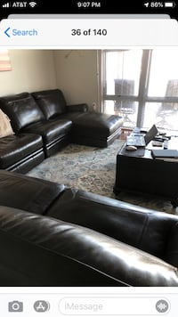 Haverty's Leather Sectional-Dark Walnut Color