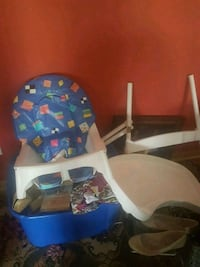 white and blue baby high chair Melrose Park, 60160