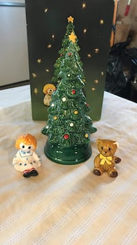 Green, white, and brown bear, girl and christmas tree ceramic figurines Sylvania, 43560