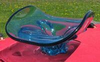 Vintage Blue Art Glass Display Piece Chalet or Murano Style