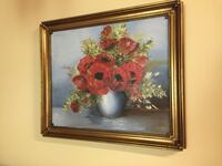 Poppies Oil painting with wooden gold frame Burnaby, V5C 3T8