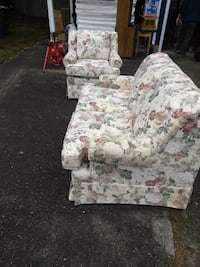 white and pink floral sofa chair Portland, 97220